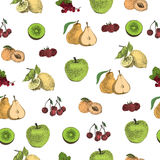 Hand drawn dot fruits pattern Royalty Free Stock Images