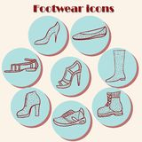 Hand drawn dots footwear set Royalty Free Stock Photo