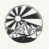Hand drawn dots work of full moon above monuntains and river for design element. Vector illustration. Hand drawn dots work of full moon above mountains and river Stock Image
