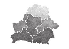 Hand drawn dotted map of Belarus. Royalty Free Stock Photos