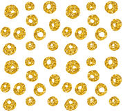 Hand drawn dotted seamless gold glitter pattern. brush circles and dots seamless pattern, vector illustration.  Stock Photo