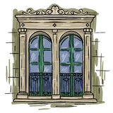Hand drawn double window, green frame. Vintage artistic architecture window. EPS10 Stock Images