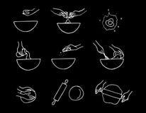 Hand drawn dough preparation process. Doodle  illustration Stock Photos