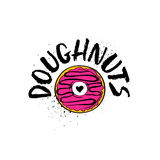 Hand Drawn Doughnuts Lettering Poster. Doughnuts lettering poster with cartoon comic donut sticker isolated on a white background. Hand drawn brush ink Royalty Free Stock Photo
