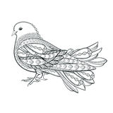 Hand drawn dove in zentangle style  on a white background. Symbo Royalty Free Stock Photos