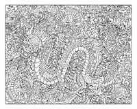 Hand drawn dragon against floral pattern background Stock Photo