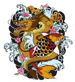 Hand Drawn Dragon And Koi Fish With Flower Tattoo For Arm, Japanese Carp Line Drawing Coloring Book Vector Image. Royalty Free Stock Image