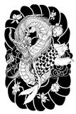 Hand drawn Dragon and koi fish with flower tattoo for Arm, Japanese carp line drawing coloring book vector image.Dragon and koi fi. Sh fighting and water splash royalty free illustration