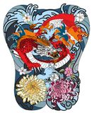 Japanese wave for tattoo. hand drawn Dragon and koi fish with flower tattoo for back. Hand drawn Dragon and koi fish with flower tattoo for Arm, Japanese carp Stock Image