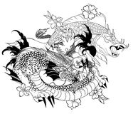 Hand drawn Dragon and koi fish with flower tattoo for Arm, Japanese carp line drawing coloring book vector image.Dragon and koi fi