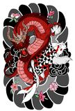 Hand drawn Dragon and koi fish with flower tattoo for Arm, Japanese carp line drawing coloring book vector image. Royalty Free Stock Images
