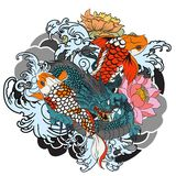 Hand drawn Dragon and koi fish with flower tattoo for Arm, Japanese carp line drawing coloring book vector image.