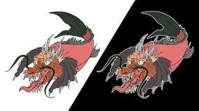 Dragon koi fish, Japanese carp line drawing coloring book vector image. Hand drawn Dragon koi fish, Japanese carp line drawing coloring book vector image Royalty Free Stock Photo