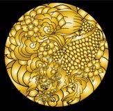 Dragon koi fish, Japanese carp line drawing coloring book vector image. Hand drawn Dragon koi fish, Japanese carp line drawing coloring book vector image Stock Image