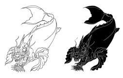 Dragon koi fish, Japanese carp line drawing coloring book vector image. Hand drawn Dragon koi fish, Japanese carp line drawing coloring book vector image Royalty Free Stock Photos