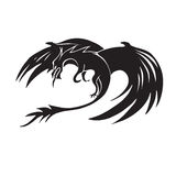 Hand drawn dragon silhouette. Hand drawn black dragon silhouette Stock Photography