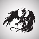 Hand drawn dragon silhouette Stock Photos
