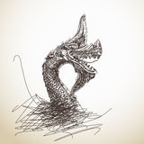 Hand drawn dragon statue Royalty Free Stock Photography