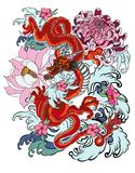 Old Dragon with koi carp tattoo japanese style. Hand drawn Dragon tattoo coloring book Japanese style.Japanese old dragon with koi fish for tattoo.Traditional Stock Images