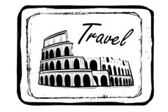Drawing of Coliseum in rome.italy . Illustration black and white. Hand drawn drawing coliseum romeitaly illustration black white stamp grunge new print landm6 vector illustration