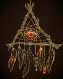 Hand drawn drawing of a triangle-shaped dreamcatcher with feathe Stock Photography