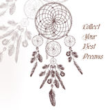 Hand drawn dream catcher in engraved style on white Stock Photo