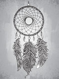 Hand drawn dream catcher with feathers in zentangle style. Royalty Free Stock Image