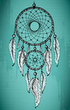 Hand drawn dream catcher with ornamental feathers on grunge gree Stock Photo