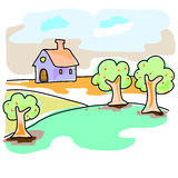 Hand-drawn dream home in natural landscape Stock Photos