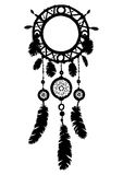 Hand drawn dreamcatcher silhouette with beads and feathers. Stock Photos