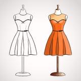 Hand drawn dress on dressform Stock Photo