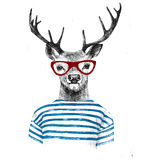 Hand drawn dressed up deer Royalty Free Stock Photo