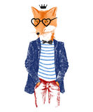 Hand drawn dressed up fox in hipster style Royalty Free Stock Photography