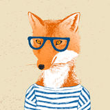 Hand drawn dressed up fox in hipster style Royalty Free Stock Photo