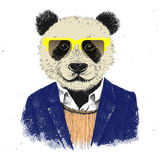 Hand drawn dressed up hipster panda Royalty Free Stock Photo