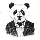 Hand drawn dressed up hipster panda Royalty Free Stock Images