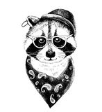 Hand drawn dressed up raccoon hipster Stock Photos