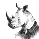 Hand drawn dressed up rhino in hipster style Stock Photos
