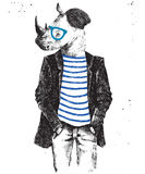 Hand drawn dressed up rhino in hipster style Royalty Free Stock Photos