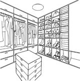 Hand drawn dressing room for illustration and coloring book page. Stock Photography