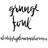 Hand drawn dry brush font. Modern brush lettering. Grunge style alphabet. Vector illustration. Stock Image