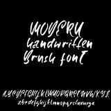Hand drawn dry brush font. Modern brush lettering. Grunge style alphabet. Vector illustration. Royalty Free Stock Image