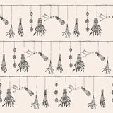 Hand drawn dry herb and plants garland illustration in . Nature seamless pattern Royalty Free Stock Photo