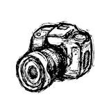 Hand drawn DSLR photo camera Royalty Free Stock Image