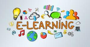 Hand-drawn e-learning illustration Stock Image