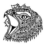 Hand drawn eagle head painted zentangl and doodle Stock Images