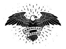 Hand Drawn Eagle with ribbon for text. Stock Image