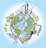 Hand drawn of earth Stock Images