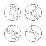 Hand drawn Earth from four sides vector illustration