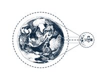 Hand drawn Earth and Moon stock illustration